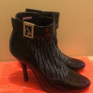 Baby Phat patent silver knit booties 6.5-7